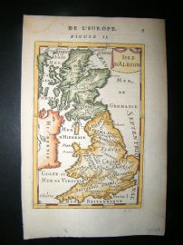 Mallet 1683 Antique Hand Col Map. Isle d'Albion. British Isles, UK